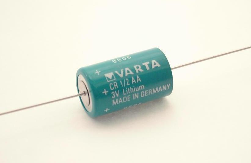 Foto batterij CR 1/2 AA axiale draadaansluiting 3V - 950 mAh