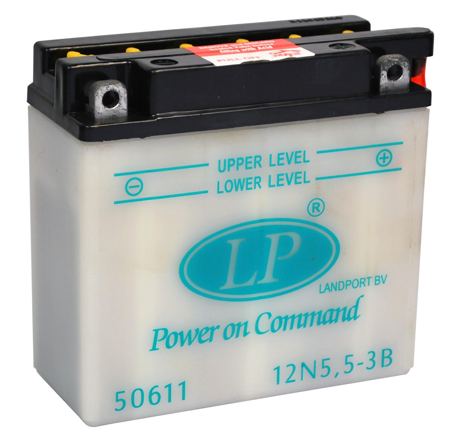 12N5,5-3B motor accu met zuurpakket
