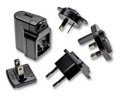 AC-DC 5V Multi Counrty Adapter met USB female output.