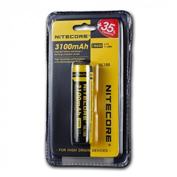 Li-Ion 18650 3,7V 3100mAh panasonic batterij buttom top van Nitecore
