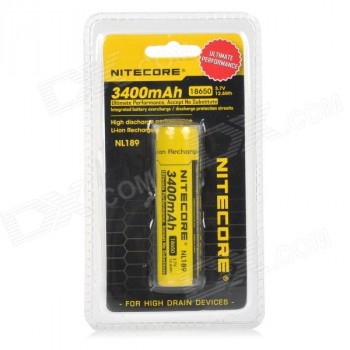Li-Ion 18650 3,7V 3400mAh panasonic batterij buttom top van Nitecore