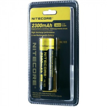 Li-Ion 18650 3,7V 2300mAh panasonic batterij buttom top van Nitecore