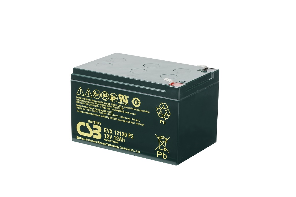 Deep cycle AGM loodaccu 12V 12Ah EVX12120 F2 van CSB Battery