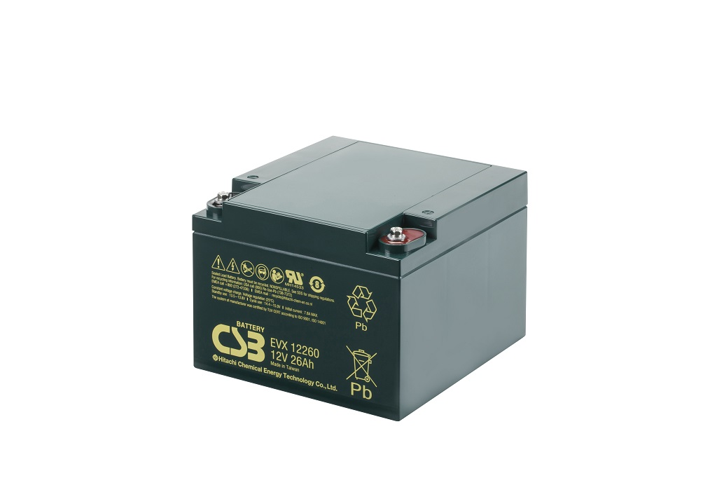 Deep cycle AGM loodaccu 12V 26Ah EVX12260 B3 van CSB Battery