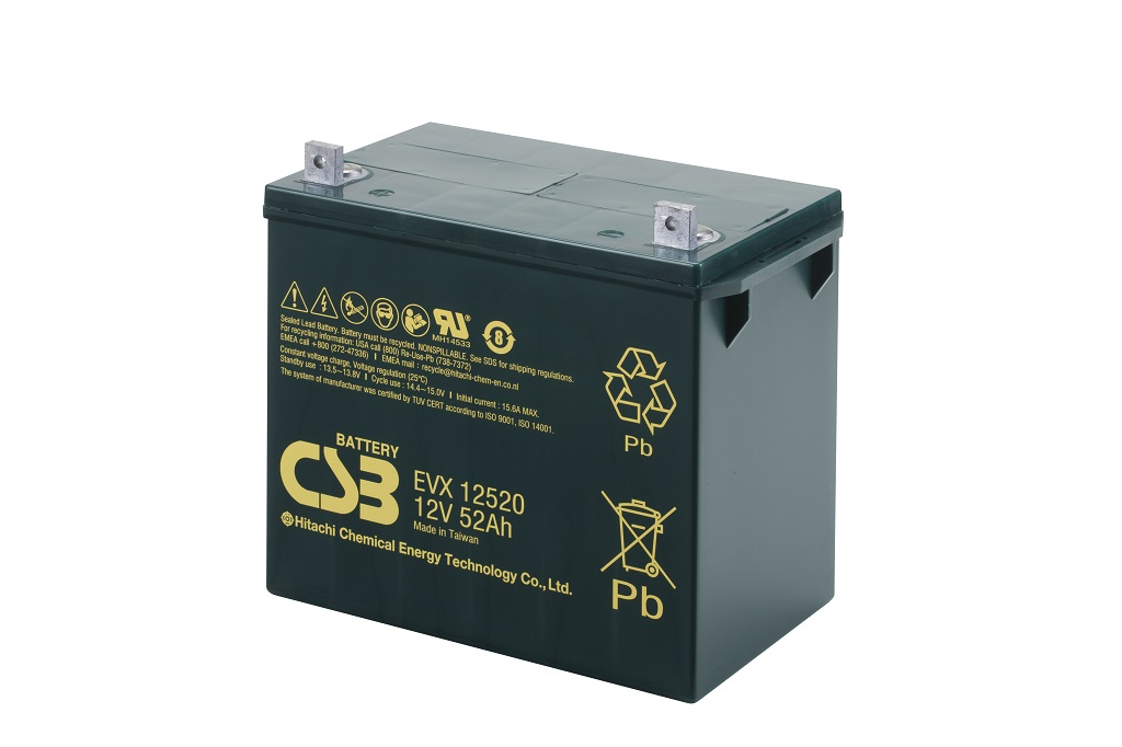 Deep cycle AGM loodaccu 12V 52Ah EVX12520 van CSB Battery