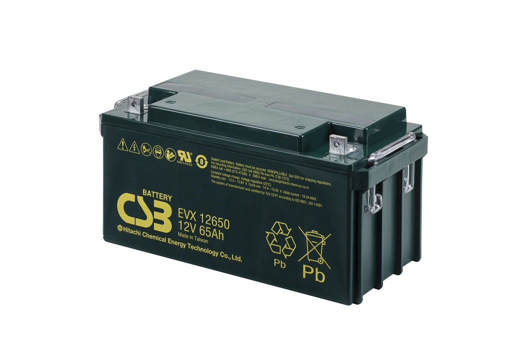 Deep cycle AGM loodaccu 12V 65Ah EVX12650 van CSB Battery