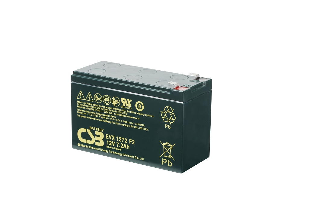 Deep cycle AGM loodaccu 12V 7,2Ah EVX1272 F2 van CSB Battery