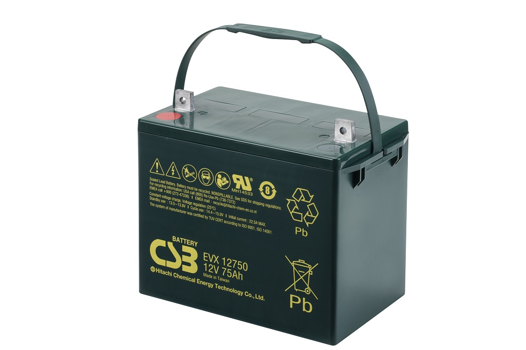 Deep cycle AGM loodaccu 12V 75Ah EVX12750 van CSB Battery