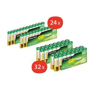 GP AA Batterijen 32 stuks + GP AAA Batterijen 24 stuks