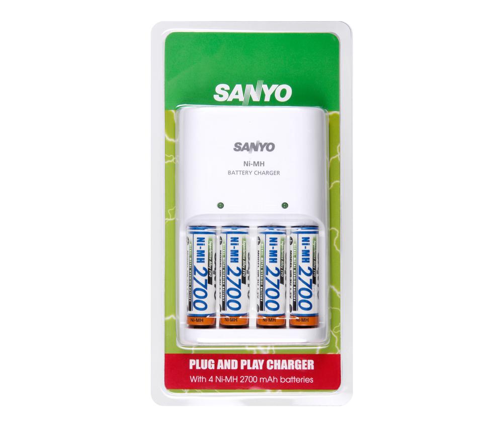 Sanyo Ni-MH batterij lader 2700mAh met 4 oplaadbare Ni-MH batterijen.