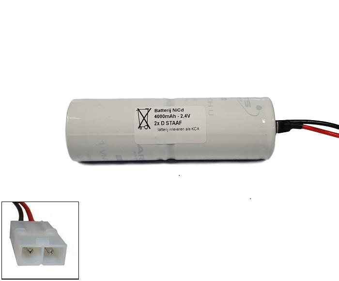 NiCd 2,4V 4000mAh 2xD HT staaf met S01 aansluiting