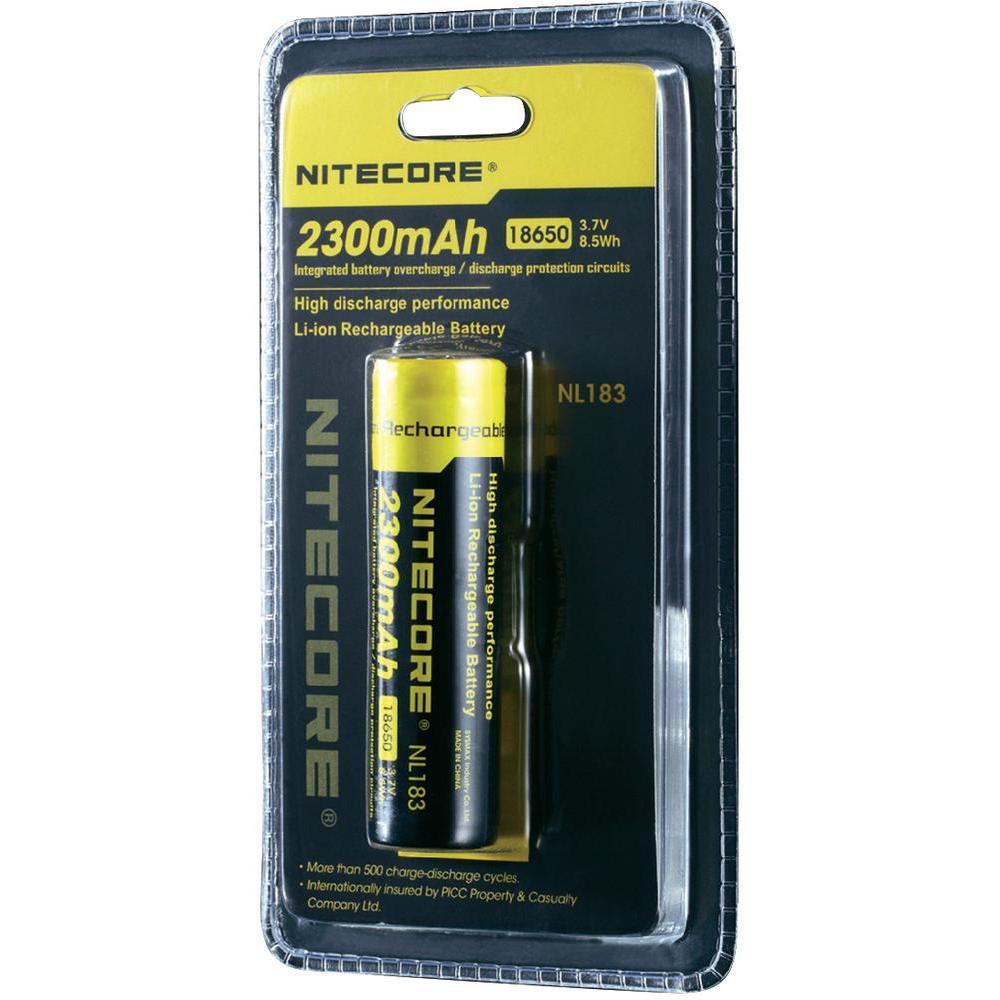 Li-Ion 18650 3,7V 2300mAh panasonic batterij buttom top van Nitecore