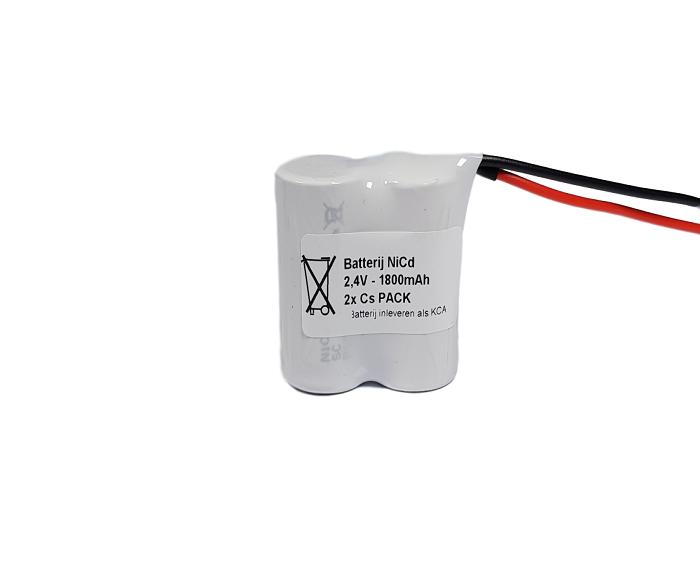 Noodverlichting accu NiCd 2,4V 1800mAh Cs 2SBS - Draadaansluiting