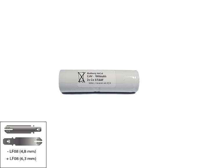 Noodverlichting accu NiCd 2,4V 1800mAh Cs 2STAAF - Faston 6,3/4,8mm