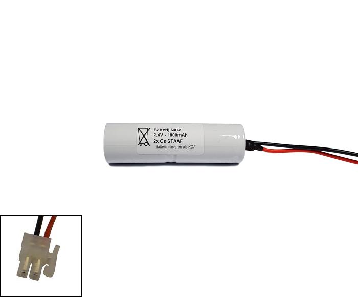 NiCd 2,4V 1800mAh 2xCs HT staaf met S05 aansluiting