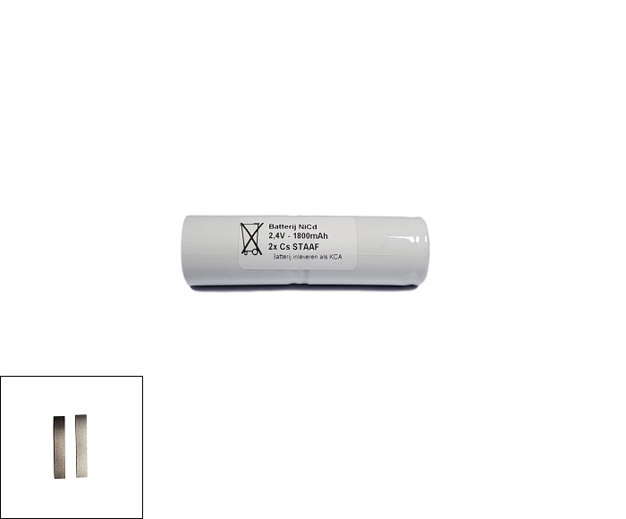 Noodverlichting accu NiCd 2,4V 1800mAh Cs 2STAAF - Soldeerlippen
