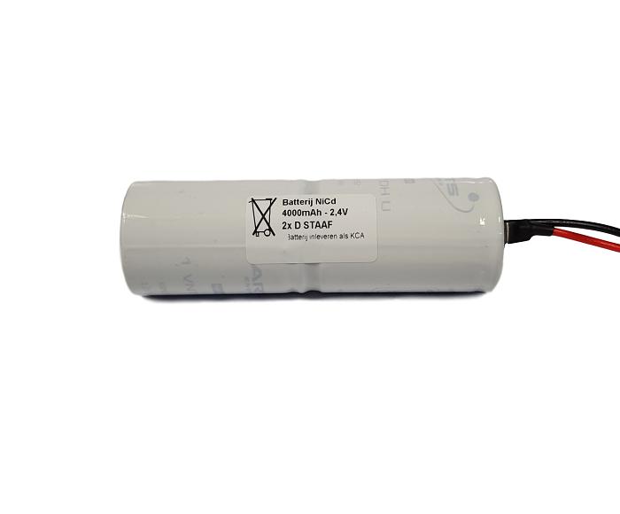 Noodverlichting accu Saft/Arts NiCd 2,4V 4000mAh D 2STAAF - Draadaansluiting