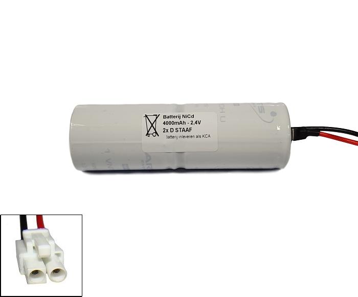 NiCd 2,4V 4000mAh 2xD HT staaf met S02 aansluiting