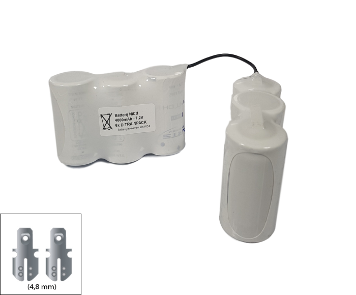 Noodverlichting accu Saft/Arts NiCd 7,2V 4000mAh D 6TRAINSBS - 4,8mm Faston