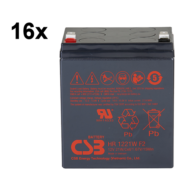 UPS RBC140 noodstroom accu 16 x HR1221WF2 van CSB Battery